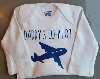 Daddy's Co-Pilot Baby Clothes, Pilot Dad, Aviator, Air Force, Airplane Baby Clothes, Funny Baby, Gender Neutral Baby Clothes, Co Pilot Baby
