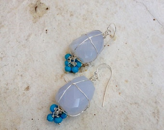 Sterling silver, natural chalcedony and turquoise rondels. 4 cm