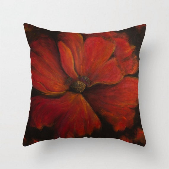 Red throw pillow Faux down pillow INCLUDED Poppy pillow Couch