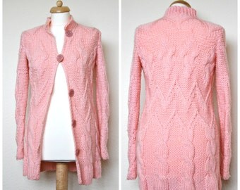 PINK Knit Cardigan.Knitwear.Merino cardigan.Wool cardigan.Oversized cardigan.Knit sweater.Aran cardigan.Bohemian cargigan.Cable knit sweater