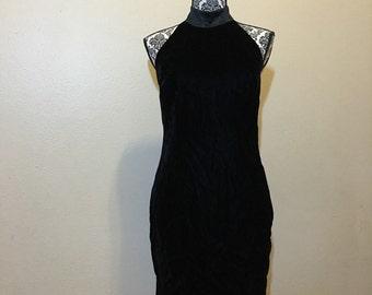 Vintage Black Velvet Dress/ Little Black Dress