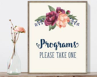 Wedding Programs Sign DIY, Please Take One / Burgundy Peony Berry Bouquet, Peach Blush Pink Ranunculus, Fall Wedding ▷ Instant Download JPEG