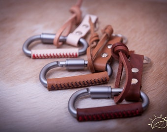 Carabiner keychain, leather wrapped keychain, Key ring, Key fob,