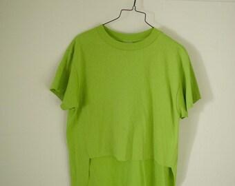Vintage 90s Lime Green Asymmetrical T-Shirt