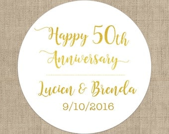 Happy 50th Anniversary Stickers, Custom Labels - Round Anniversary labels - 50th Anniversary - Anniversary Envelope Seals - Candy Stickers