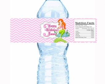 20 Beautiful Mermaid Kids Birthday Water Bottle Labels