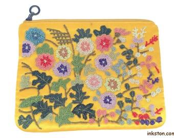 Handmade Silk Embroidery Purse, Yellow