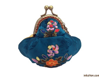 Silk Coin Purse, Blue and Gold