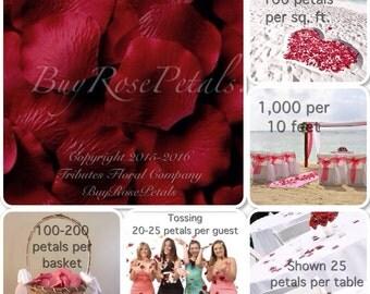 500 Crimson Rose Petals - Silk Rose Petals - Artificial Rose Petals for Weddings