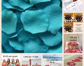 Teal Blue Silk Rose Petals  Value Pack