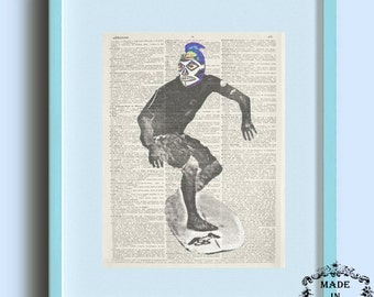 """Mexican Lucha Libre Art Print """"Surfing Tiburon"""" dictionary page book art print"""