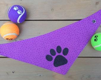 Dog Bandana, Purple Dog Bandana, Dots, Paw Print, Snap Bandana