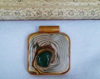 Aventurine stone in custom polymer clay setting, green, brown, gold, pendant