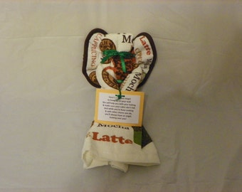Mocha Themed Kitchen Towel Angel Wall Hanging