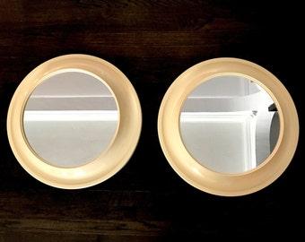 Pair Vintage Mid Century Modern 1970s Space Age Round Porthole Plastic Mirrors Pop Era Colombo Kartell Era  MCM