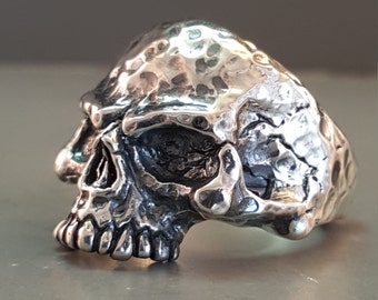 Sterling Silver Skull Ring With Hammer Finish