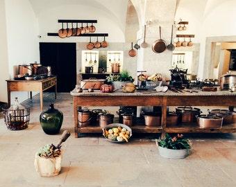 Rustic Kitchen Decor, Kitchen Wall Decor, Chef Gift, Kitchen Art, Earthy Decor, Food Photography, Kitchen Decor, Brown, Copper Pot, Gold