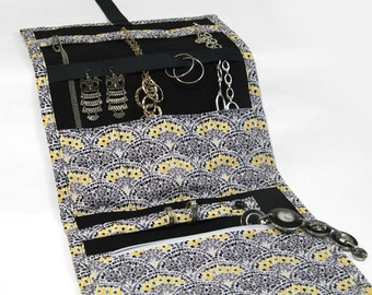 Jewelry Travel Organizer, Jewelry Roll, Jewelry Case with a Yellow Floral Print and a Black Interior