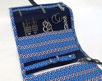 Jewelry Travel Organizer, Jewelry Roll, Jewelry Case with a Teardrop Print Fabric in Shades of Blue, Nautical