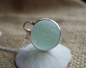 Sea glass codd marble necklace in silver plated bezel band,sea glass marble necklace, bezel set beach marble, silver sphere marble, unique