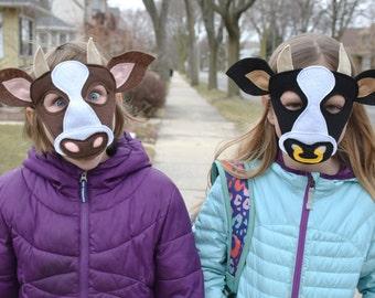 Handmade felt cow, bull mask