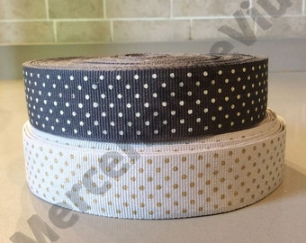 1.09 Yard pois gold light gray grosgrain or pois white dark gray grosgrain pritend ribbon height 1""