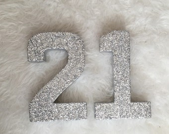 Silver Gold Glitter 21st Birthday - Stand Up Paper Mache Number - Party Decor - Photo Prop - Decoration - Dessert Table - CUSTOMIZABLE