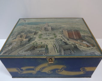 Biscuit Box, Cookie Tin, Large Tin Biscuit Box, Large Cookie Tin, Large Biscuit Box, Scenic Tin, Biscuit Cookie Tin, Biscuit Box,