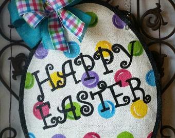 Polka Dot Happy Easter Egg Burlap Door Hanger Decoration and Wreath Replacement