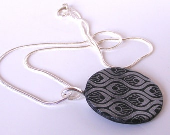 Art Deco Style Clay Pendant and Chain