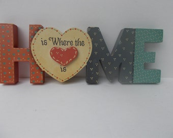 """Vintage country """"Home is where the heart is"""" wall plaque."""
