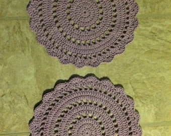 Set of 2 Lilac Colored Doilies