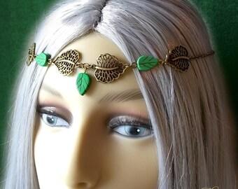Elven Headpiece, Woodland Headdress, Forest Circlet, Pagan Headdress, Woodland Fairy Circlet, Green Leaf Headdress Elf, Elfin Headpiece