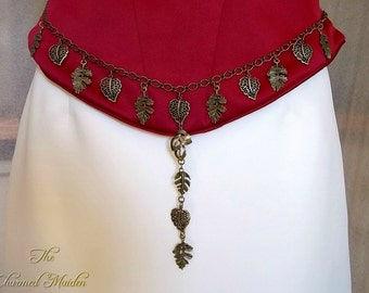 Woodland Girdle Belt, Bronze Leaves Chain Belt, Pagan Leaf Belt, Forest Fairy Belt, Autumn Waist Chain, Medieval Belt, Cosplay, Larp