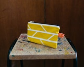 Make-Up Bag Mustard Yellow Convergence Print Graphic Screenprinted Cotton with waterproof lining - hand printed