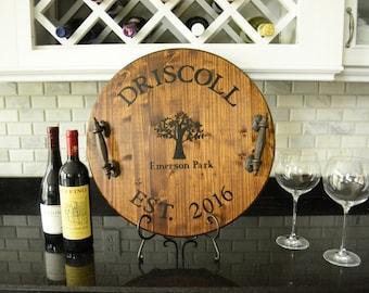 Personalized Wine Barrel Tray | Custom Serving Tray | Personalized Tray | Wedding Gift | Housewarming Gift | Rustic Tray