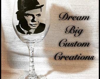Frank Sinatra Hand Painted Wine Glass