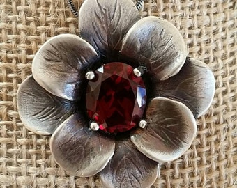 Sterling silver, casting, pendant, with, ruby stone.
