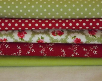Half Metre Fabric Bundle in Reds and Greens
