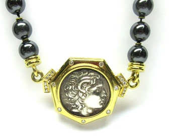 "Roman Greek Coin Pendant Necklace Hematite 18k Gold Diamond 17.5"" Estate 1354 P"