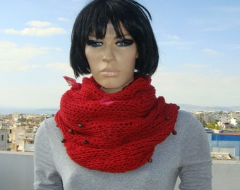 Hand  knitted red cowl, handmade red cowl, red cowl with beads, women accessories, winter scarf.