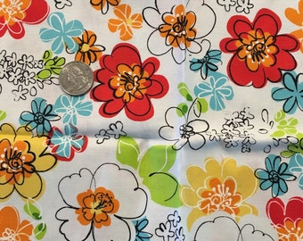 Fat quarter. Floral. Yellow orange blue red white green