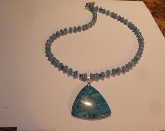 Hand made one of a kind beaded  Necklace w/ Aqua Abacus beads