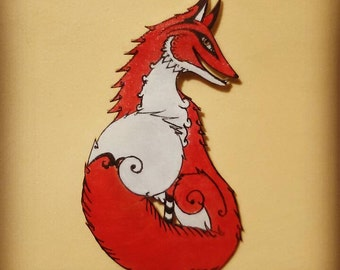 Fox soul, hot and elegant hand made brooch. Original design