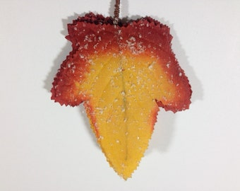 10 Snow Autumn Leaves Fall Leafs Leaves Artificial leaves Craft Supplies Scrapbooking Leaves Yellow Red