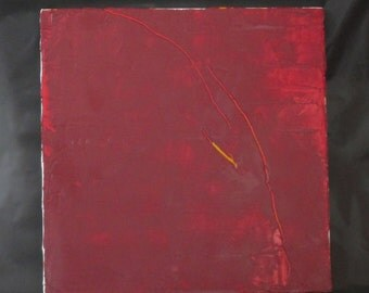 Dark red with yellow abstract oil painting