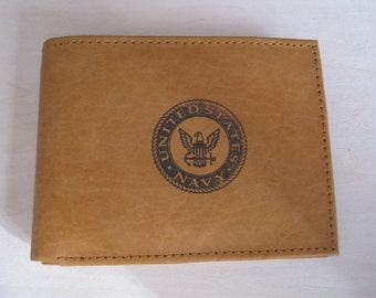 """Mankind Wallets Men's Leather RFID Blocking Billfold w/ """"United States Navy"""" Image~Makes a Great Gift!"""