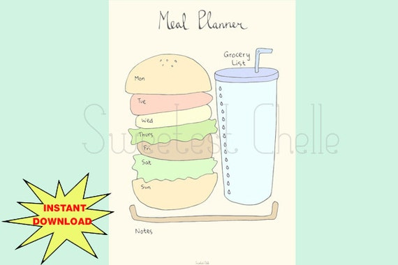Cute Printable A5 Page Weekly Meal Planner with Grocery