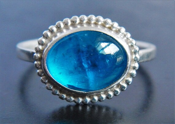 Neon Blue Apatite and Sterling Silver Ring Apatite Ring