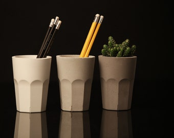 Concrete Pencil Holder. Pencil cup. Pencil holder. Concrete cup. Minimalist style. Office decor. Office storage